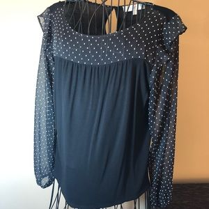 Loft black sheer sleeve blouse